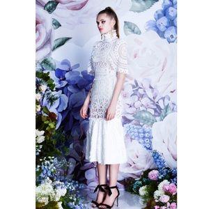 Asilio Venice Queen Panelled Lace Midi Dress White